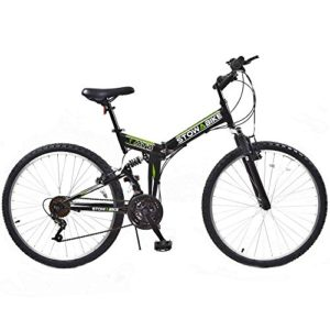 "Stowabike 26"" MTB V2 Folding Dual Suspension 18 Speed Shimano Gears Mountain Bike Black"