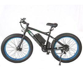 2017 Update Fat Tire Electric Bike Beach Snow Bicycle 4.0 inch Fat Tire ebike 500W Electric Mountain Bicycle with Shimano 7 Speeds Black/Blue Lithium Battery Electric Mountain Bicycle